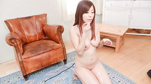 Asian girl gives blowjob on two stiff dick