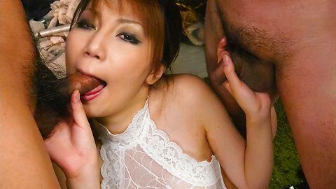 Impressive beauty  Yuria Kano in threesome oral