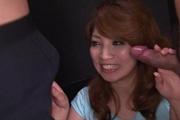 MILF Misaki Aiba Sucks And Tit Fucks Three Guys Photo 7