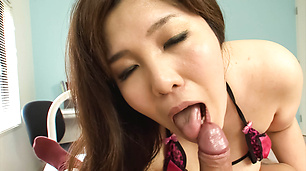 Wife with big tits provides Asian blowjob in the shower