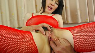 Anno Kiriya creampied in her red asian lingerie