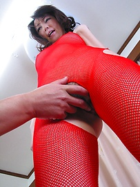 Anno Kiriya - Anno Kiriya in sexy red fishnet costume fucked well - Picture 3