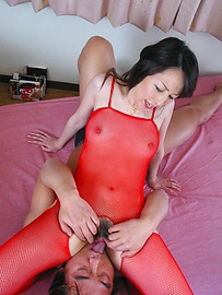 Anno Kiriya - Anno Kiriya in sexy red fishnet costume fucked well - Picture 7