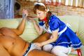 In maid costume and on chain leash Erena Kurosawa is fucked