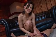 Babe with hairy Asian pussy blows cock in rough manners  Photo 1