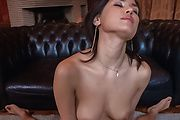 Babe with hairy Asian pussy blows cock in rough manners  Photo 9