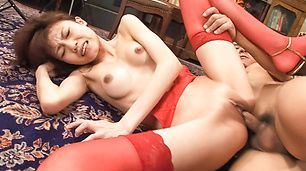 Ibuki In Red Lingerie And Stockings Gets A Creampie