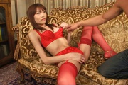 Sexy in red Ibuki gets her japanese pussy creampied Photo 8