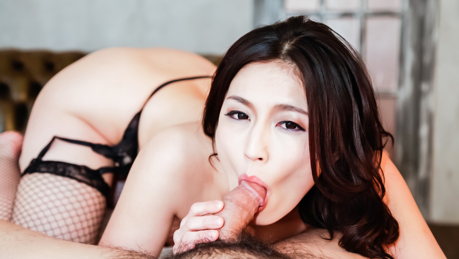 Sweet Asian milf gets a big dick in her twat