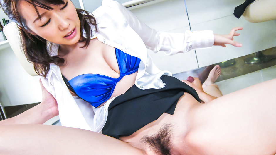 Japanese milf, Hitomi Oki, goes deep on a tasty dick
