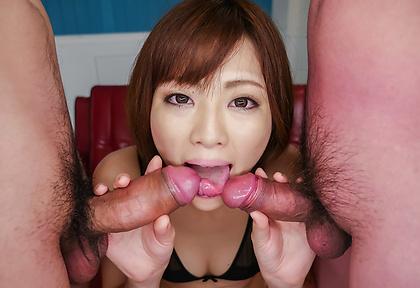 Sexy Tomoka Sakurai blows two cocks in perfect scenes