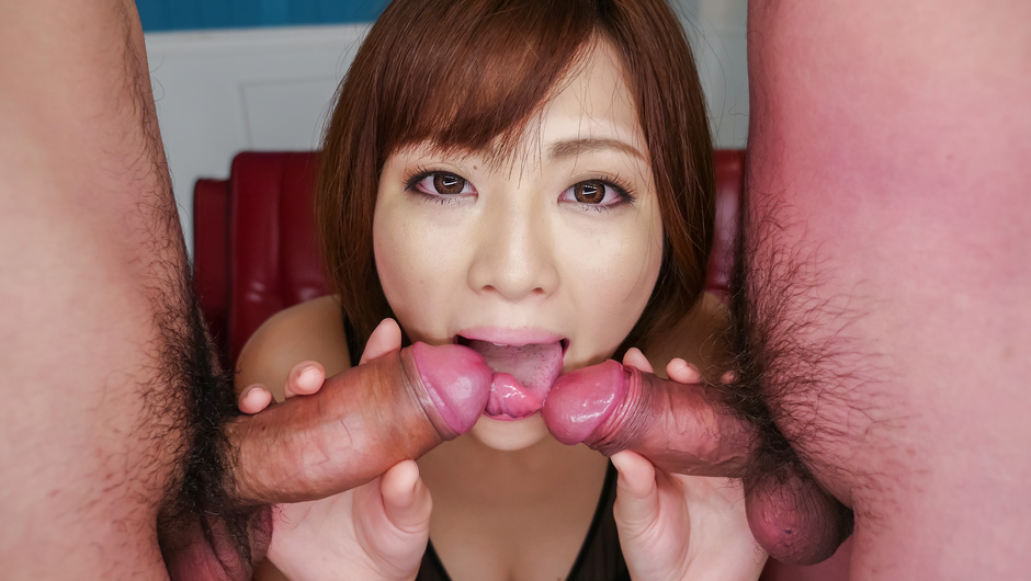 Sexy Tomoka Sakurai blows two cocks in perfect scenes