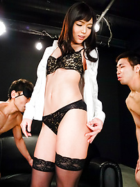 Megumi Shino - Megumi Shino licks dicks and enjoys threesome sex  - Picture 9