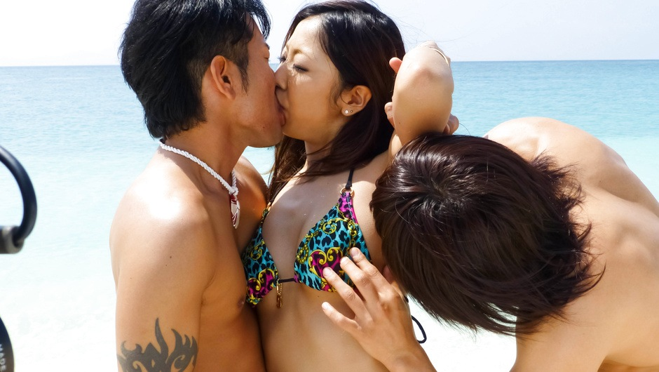 Yui Nanase has asian group sex on the beach