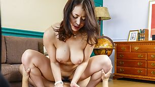 Japanese milf in heats spins the dick for a few rounds