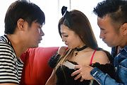 Sweetie in Japanese stockings fucked by two hunks  Photo 1