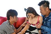 Sweetie in Japanese stockings fucked by two hunks  Photo 4