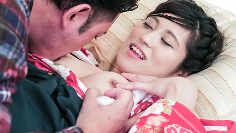 Ema Kato - Wife in kimono fucked after a hot Asian blowjob  - Picture 1