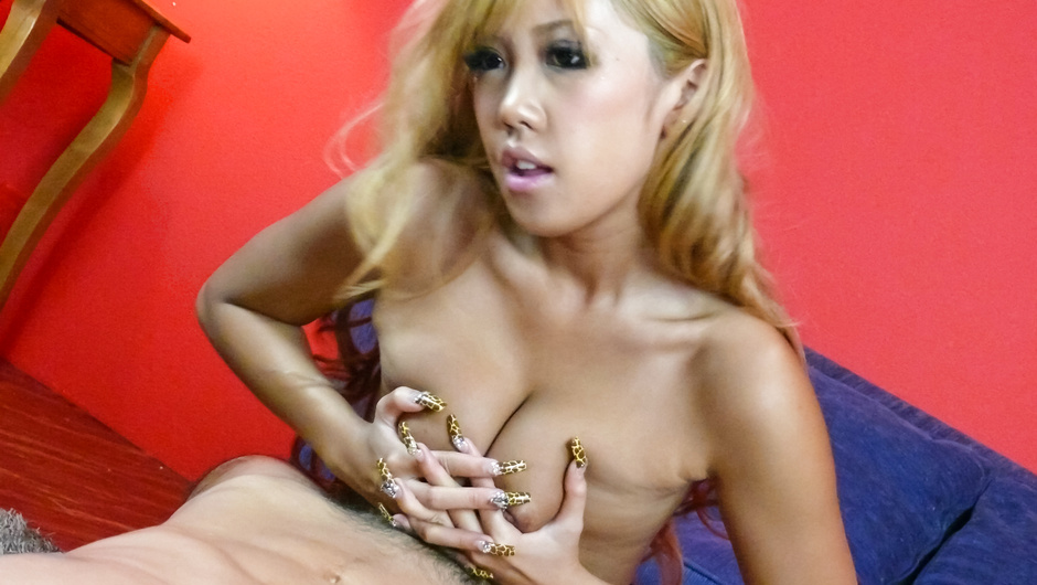 Blonde Runa Anzai giving top asian blowjob in threesome