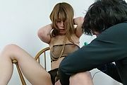 Rika Aiba gives asian blow jobs in see thru lingerie Photo 10
