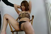 Rika Aiba gives asian blow jobs in see thru lingerie Photo 2