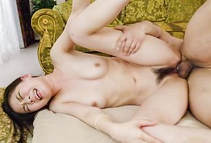 Two cocks to enlargeKei Akanishi's hairy Aisan cunt