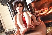 Kanade Otowa - Kinky babe jerking a hard cock and giving it a foot rub - Picture 9