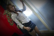 Kazumi Nanase fucked and creampied in stockings in POV Photo 1