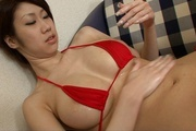 Japanese lingerie model receives cock between her tits  Photo 3