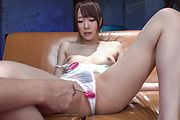 Hitomi Oki enjoys toys over her hairy Asian cunt  Photo 11