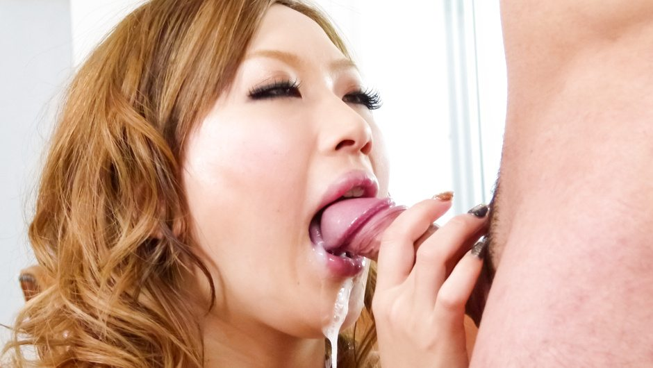 MILF Aika gives a japanese blowjob to two guys