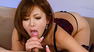 Top Mai Kuroki amazes with a POV Asian blowjob