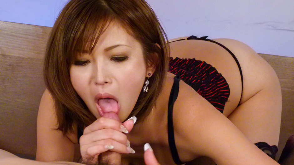 Asian lingerie babe sucks cock in full XXX scenes