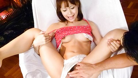 Asian lingerie model gets stimulated with a huge toy