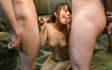 Sexy Asian giving blowjob in sloppy manners