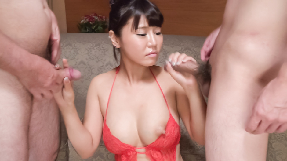 Big tits beauty gives head on two big dicks