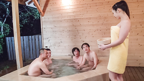 Mimi Aku - Japanese blowjob in the sauna with Mimi Aku - Picture 1