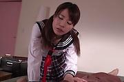 Asian schoolgirl sucks cock in extra hot manners  Photo 1