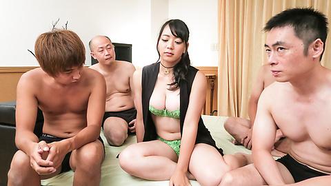 Makoto Shiraishi - Busty Makoto Shiraishi enjoys multiple cocks in her  - Picture 1