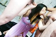 Chiharu has many cocks to give a blowjob to Photo 8
