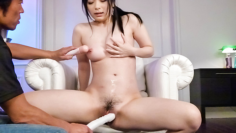 Toy fucked Asian chick get blasted with some sticky cum