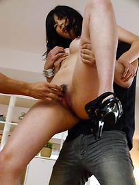 Saki Aoyama - Saki Aoyama with spread legs sucks tool   - Picture 11