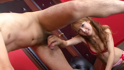 Yuki Mizuho - Nasty redhead chick making out and gagging her boyfriends throbbing cock - Picture 6