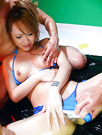 Luna - An oily asian blowjob and threesome fuck for Luna - Picture 12