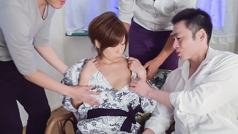 Chihiro Akino - Sexy wife swallows after top Asian blowjob - Picture 2