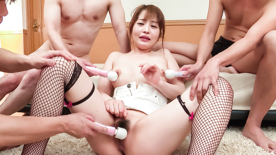 Japanese milf ends group porn with Asian cum face scenes