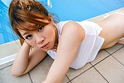 Babe in sexy Asian lingerie blows on two cocks Photo 10