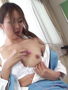 Risa Misaki - Risa Misaki shows off in solo along her Asian dildo  - Screenshot 11