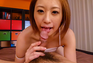Ruri Haruka blows cock and swallows like a pro