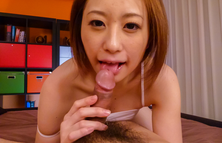 Ruri Haruka blows cock and swallows like a pro japanese girl, nude japanese women, japanese nude
